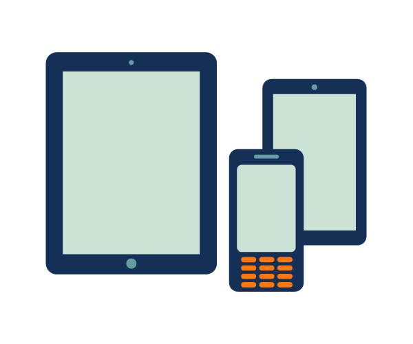 "This is an icon depicting two mobile tablets and a mobile phone. It is meant to symbolize ""public legal education and information and technology""."